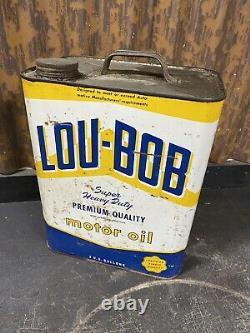 VINTAGE Rare LOU-BOB MOTOR OIL 2 Gallon Can 20W Lou-Bob Co. Chicago Illinois