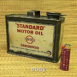 VINTAGE STANDARD OIL SEMIDENSO MOTOR OIL CAN GENOVA ITALY 20s TIN VERY RARE