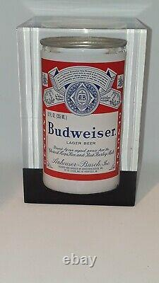 Very Rare Budweiser Beer Can Anheuser Busch 1977 Rare vintage Award Lucite