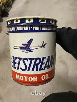 Very Rare Jetstream Motor Oil Can Airplane Graphic Texas Jet Gas Sign TX