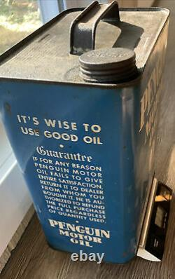 Very Rare PENGUIN Motor Oil Can 2 US Gallon Super Refined A Traymore Product NY