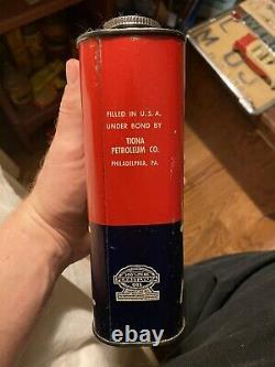 Very Rare Tiopet 100% Pure Pennsylvania Motor Oil Can Tiona Petroleum PA NJ