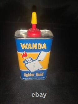 Very Rare Vintage 1940-50s Wanda lighter fluid fuel oil tin can handy oiler