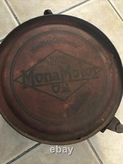 Very Rare Vintage MONA MOTOR OIL 5 Gallon ROCKER CAN - 1920's - gas sign