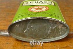 Vintage 1920s RARE Texaco Home Lubricant Oval Lead Top 4oz Handy Oiler Oil Can