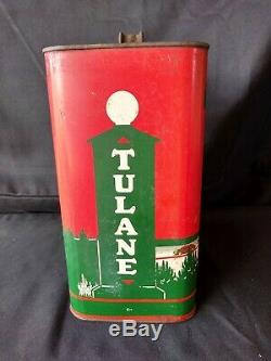 Vintage 1930s TULANE Oil Old Tin Metal Can With Car Graphic Sign RARE 2 Gallon