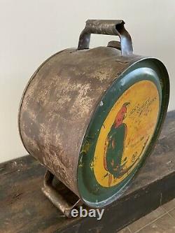 Vintage ADCO Polly Parrot Rocker Oil 5 Gallon Can Rare Orig Sedalia Missouri USA