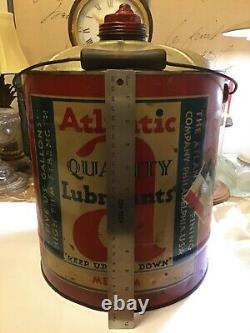 Vintage ARCO Atlantic 5 gal Lubricant Oil gas Can pre Sunoco Philadelphia Rare