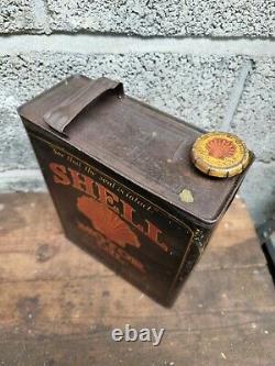 Vintage Black Shell Motor Oil 1 Gallon Can / Tin Rare Garage Automobilia Rare
