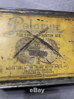 Vintage Early Rare Standard Oil Car Truck Boat Polarine One Half Gallon Oil Can