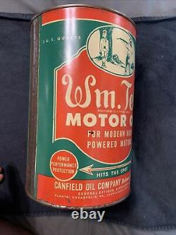 Vintage FULL Original Wm. Tell RARE 5 Quart Motor Oil Graphic Can Canfield Oil Co
