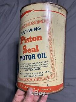 Vintage Fleet Wing Motor Oil Can Rare 5 Five Quarts Piston Seal Cleveland OH