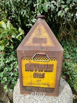Vintage NOTWEN OILS 5 Gallon Pyramid Can Automobilia Motoring Collectable Rare