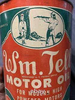 Vintage Original Wm. Tell RARE 40s 5 Quart Motor Oil Graphic Can Canfield Oil Co