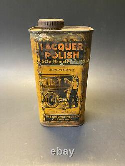 Vintage RARE 1930s Achi-Namel Lacquer Polish Automotive Advertising Tin Can