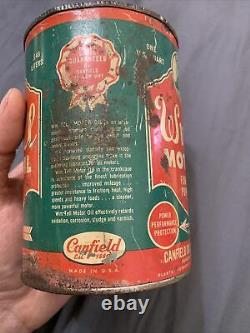 Vintage RARE 1940s Wm. Tell Motor Oil Graphic Quart can Canfield Oil Corp OH