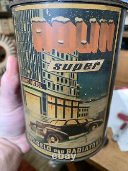 Vintage RARE Arexons Italian Antifreeze Automobile Graphic Winter Can