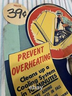 Vintage RARE Shell Gasoline Oil Radiator Flush Can Graphic Store Display Sign