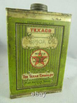 Vintage RARE Texaco Spica Oil one pint Can Port Arthur Texas, GREEN LABEL