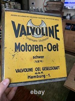 Vintage RARE Valvoline Yellow Motoren-Oel German Motor Slim 5 Quart Oil Can