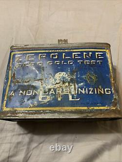 Vintage Rare 1/2 Half Gallon Zerolene Standard Oil Polar Bear Graphic Oil Can