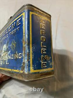 Vintage Rare 1/2 Half Gallon Zerolene Standard Oil Polar Bear Graphic Oil Can