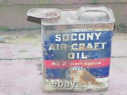 Vintage Rare 1 Gallon SOCONY Air-Craft Oil Empty Can