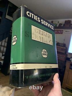Vintage Rare Cities Service One Gallon Oil Can
