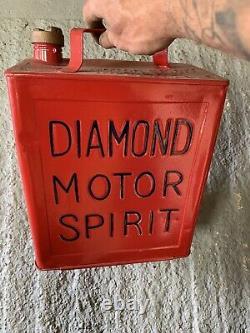 Vintage Rare Diamond 2 Gallon Petrol Can Oil Automobilia Old
