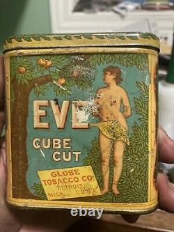 Vintage Rare Eve Cube Cut Tobacco Tin Can Great Graphics Advertising Detroit MI