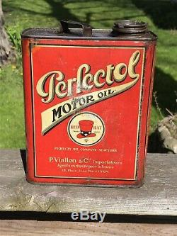Vintage Rare HTF Red Hat Perfectol Motor Oil Slim Oil Can Gas Oil Soda