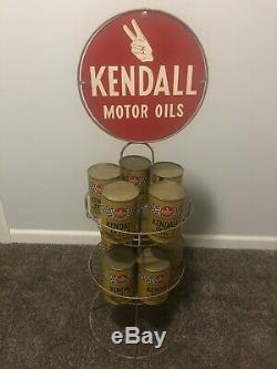 Vintage Rare Kendall Motor Oils Quart Rack Display With Full Cans Gas/oil
