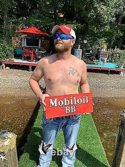 Vintage Rare Mobil Mobiloil Motor Oil BB Metal Sign Bottle Can Gas Gasoline 18x7