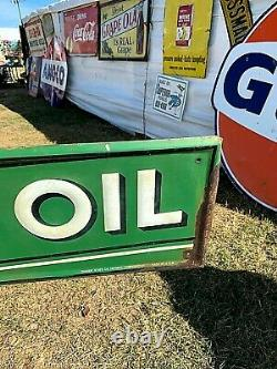 Vintage Rare Quaker State Motor Oil Gas Metal Sign 72X12