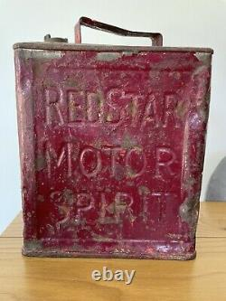Vintage Rare Redstar Motor Spirit 2 Gallon Petrol Can With Cap
