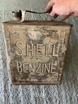 Vintage Rare Shell Benzine 2 Gallon Petrol Can Oil Automobilia Old