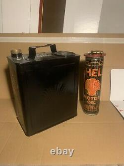 Vintage Rare Shell Duo Petrol Can Petroliana Automobilia Not Enamel Display