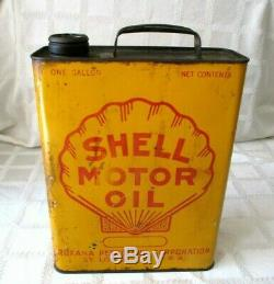 Vintage Shell Clam Sign Motor Oil- Rare- 1-gallon Square Can- 11-st Louis, Mo