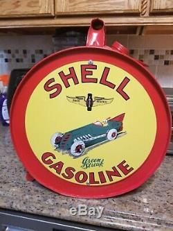 Vintage Shell Green Streak Rocker Oil Can Advertising Gas Rare