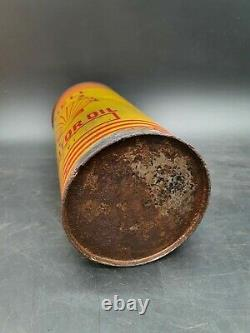 Vintage Shell Motor Oil Round Quart Can Tin Garage Automobilia Motoring Rare