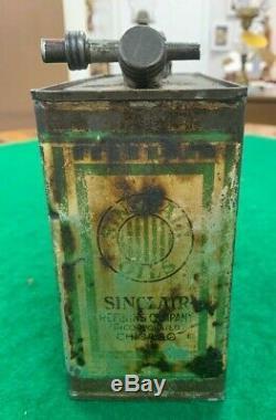 Vintage Sinclair Motor Oil 1/2 Half Gallon Oil Can VERY RARE