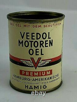 Vintage VEEDOL MOTOREN German Motorcycle Motor Oil Can 1/2 Pint RARE PREMIUM s1