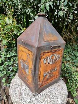 Vintage VIGZOL OIL 5 Gallon Pyramid Can Automobilia Motoring Collectable Rare