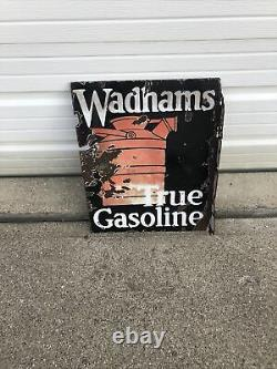 Vintage Wadhams RARE Flange Sign Oil Can Gas Station Advertising Sign