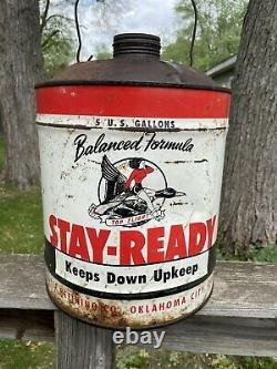 Vintage rare stay ready top flight 5 gallon oil additive can gas oil soda