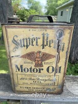 Vintage super penn motor oil can two 2 gal rare eagle super service New york