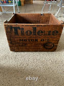 Vintagerare Pure Pa Tiolene Wooden Oil Can Bottle Crate Carrier Gas Oil Sign