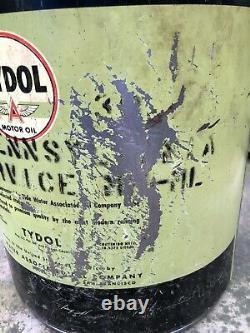 Vtg 40s Tydol Motor Oil 5 Gallon Oil Can Bucket Tide Water Assocd Flying A Rare