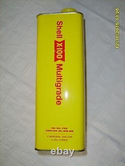 Vtg V. Rare USA Shell Motor Oil Tin Can X-100 Collectible Advertisement 1 Gallon
