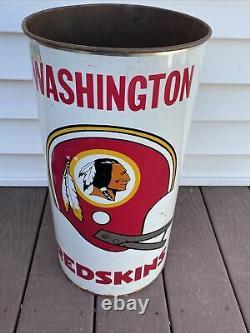 WASHINGTON REDSKINS RARE OLD VINTAGE 1970s METAL TRASH CAN NFL 19 RARE HTF